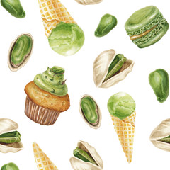 Watercolor pistachio  delicious pattern