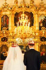 wedding in church at an altar