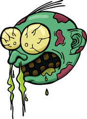 Cartoon illustration of zombie head getting cold