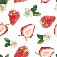 Watercolor strawberry pattern
