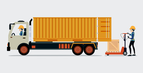 Container truck with boxes and its employees.