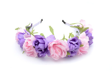 wreath of colored flowers isolated on white