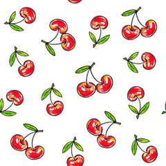 Cherry sweet on a white background. Seamless pattern for design. Animation illustrations. Handwork