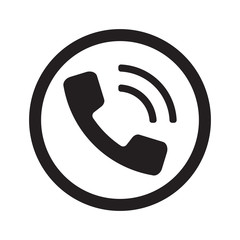 Flat black Phone web icon in circle on white background