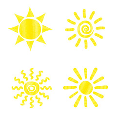 Set of watercolor sun icons. Collection of hand drawn symbols. Sun vector illustration.