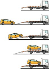 Set of auto transporter and car isolated on white background in flat style in different positions. Vector illustration.
