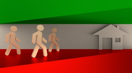 Image relative to migration from africa to european union. Refugees icons go to the house icon. Hungary flag background