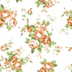 Orange Flowers Seamless Pattern
