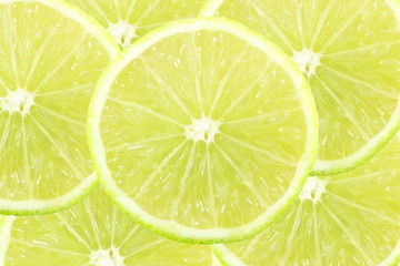 fresh lemon lime citrus fruit slice closeup