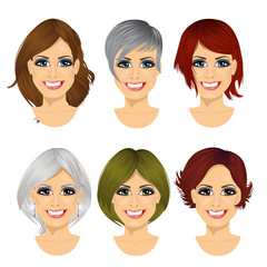 isolated set of middle aged woman avatar with different hairstyles