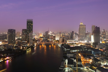 cityscape of bangkok at night