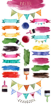 Watercolor multicolored collection with ribbons,brush stroke,shapes,floral elements, bunting flags,brushes and more.Watercolor isolated elements on white background. Handpainted watercolor collection.