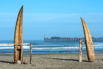 Traditional Peruvian small Reed Boats (Caballitos de Totora)