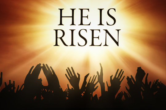 People hands and text He is risen
