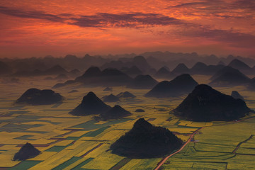 Poster Brick Sunrise with landscape of China