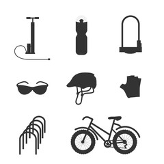 Bicycle equipment solid icon vector set. Bike and glove, sunglasses  and uniform cyclist illustration. Bike equipment silhouette for sport