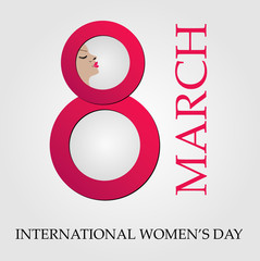 Large digit 8 with face of a woman- graphic for international womens day