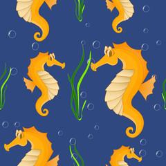 Funny sea horse. Seamless background