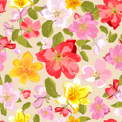 Seamless floral background. Isolated flowers and leafs. Spring flowers.
