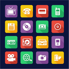 Old Technology Icons Flat Design