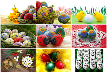 Easter eggs collection, spring and tradition
