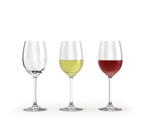 empty wine glasses with red and white wine isolated on white