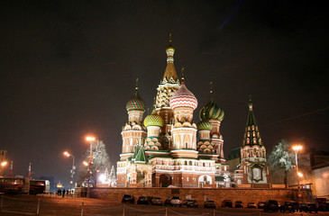 Wall Murals Moscow Night St. Basil's Cathedral