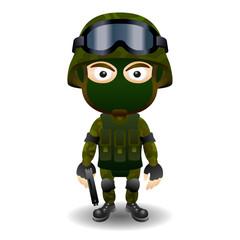 Soldier gun pistol military character combat black mask male