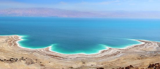 landscape of the Dead Sea, failures of the soil, illustrating an environmental catastrophe on the Dead Sea, Israel Fototapete