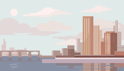 Big city. Vector flat illustration