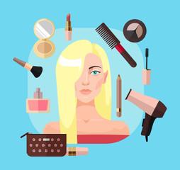Blonde woman in beauty salon. Vector flat illustration