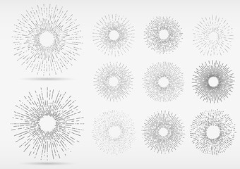 Linear drawing of rays of the sun in Hand Drawing style. Graphic elements for various design projects. Uneven sun rays that diverge in hand.