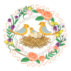 Floral frame with nest. Vector flat illustration