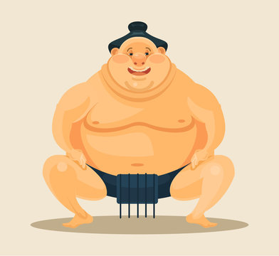 Sumo wrestler. Vector flat cartoon illustration
