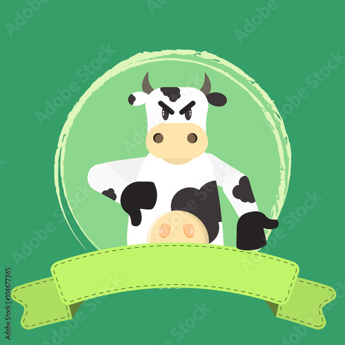Angry cow disapproving something  Blank ribbon for insert