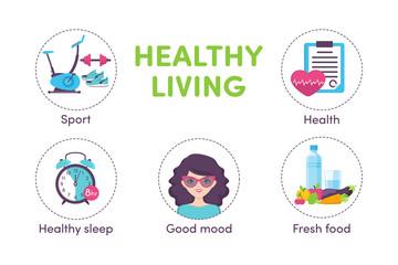 Icons healthy living, sport, food, clock, woman portrait