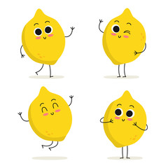 Lemon. Cute fruit character set isolated on white