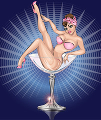 Pin Up sexy girl wearing pink bikini in Martini glass