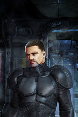 Wall Mural - Futuristic soldier evil guy in armor