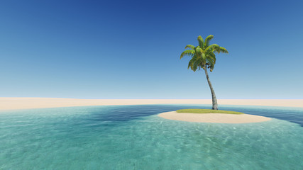 Oasis with a lake and a palm tree in the desert