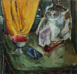 Oil painting still life with  tea, cigarettes, tobacco, glass, curtain, crib On Canvas