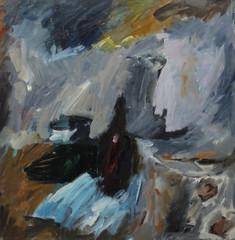 Oil painting Перекласти..абстрактный натюрморт с бутылкой в темных тонах.abstract still life with a bottle in dark tonesOn Canvas