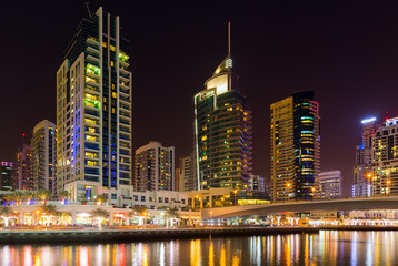 city Dubai marina in a summer night panorama of skyscrapers