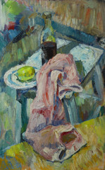Oil painting still life with  fabric on a chair with a bottle of alcohol and lemon in a plate On Canvas