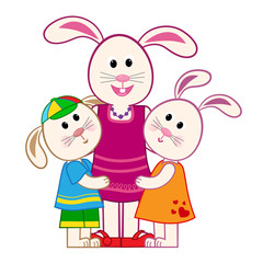 Mother Bunny and Kids - Cute mother bunny hugs her son and daughter. Eps10