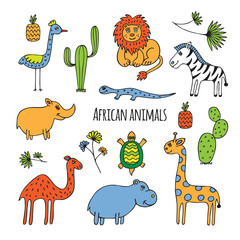 African animals sketch