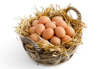Braune Eier im Korb