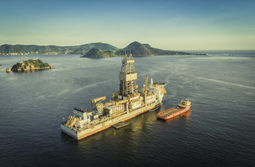 Offshore Oil drilling rig against panorama of Rio De Janeiro