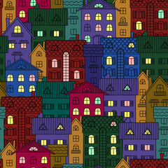 Night background of colorful houses