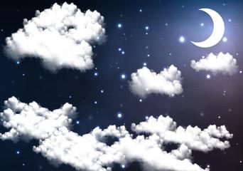 crescent moon illuminates the night